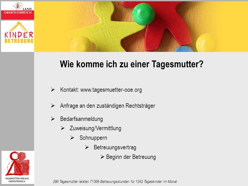 Wie komme ich zu einer Tagesmutter? Kontakt: www.tagesmuetter-ooe.org Anfrage an den zuständigen Rechtsträger Bedarfsanmeldung Zuweisung/Vermittlung S