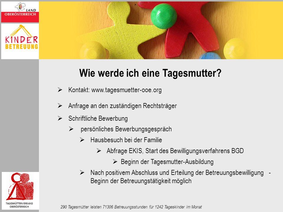 Wie werde ich eine Tagesmutter? Kontakt: www.tagesmuetter-ooe.org Anfrage an den zuständigen Rechtsträger Schriftliche Bewerbung persönliches Bewerbun