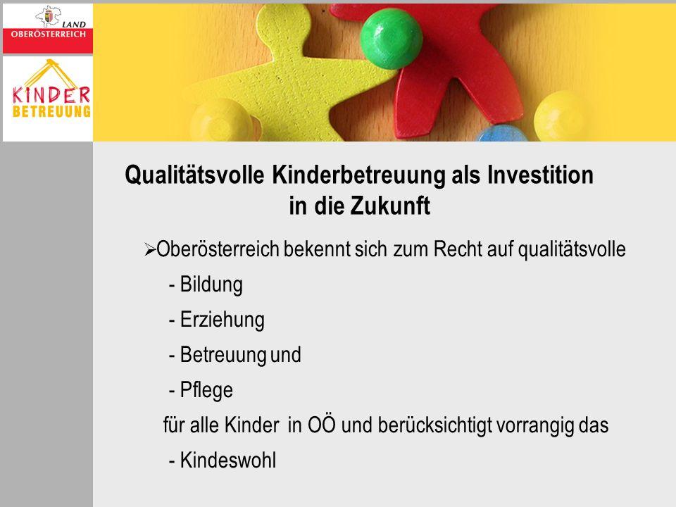 Qualitätsvolle Kinderbetreuung als Investition in die Zukunft Oberösterreich bekennt sich zum Recht auf qualitätsvolle - Bildung - Erziehung - Betreuu