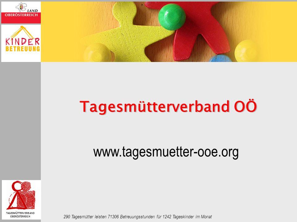 www.tagesmuetter-ooe.org 290 Tagesmütter leisten 71306 Betreuungsstunden für 1242 Tageskinder im Monat Tagesmütterverband OÖ TAGESMÜTTERVERBAND OBERÖS