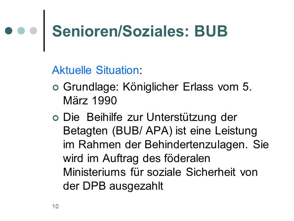 10 Senioren/Soziales: BUB Aktuelle Situation: Grundlage: Königlicher Erlass vom 5.