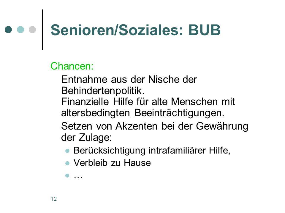 12 Senioren/Soziales: BUB Chancen: Entnahme aus der Nische der Behindertenpolitik.