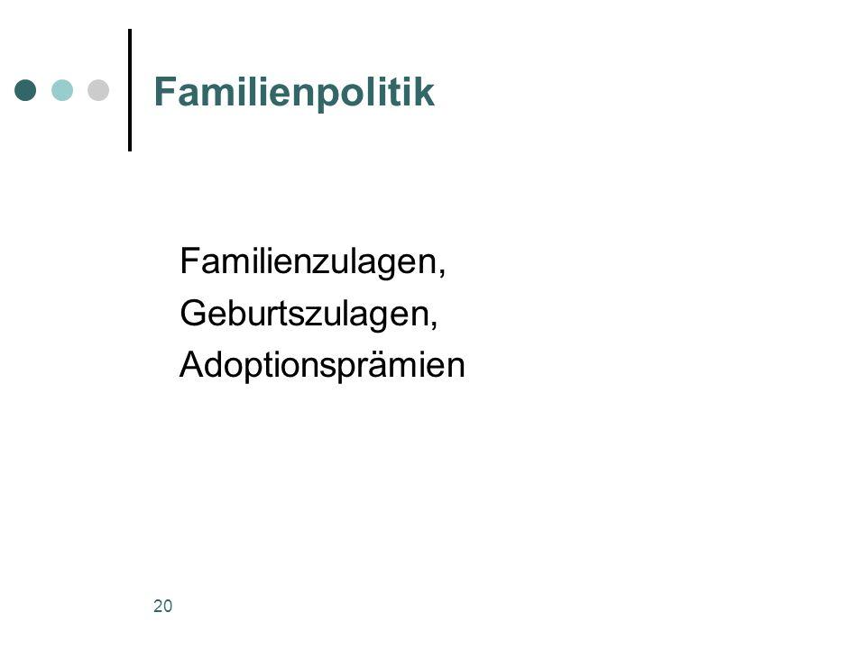20 Familienpolitik Familienzulagen, Geburtszulagen, Adoptionsprämien