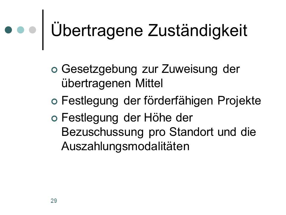 29 Übertragene Zuständigkeit Gesetzgebung zur Zuweisung der übertragenen Mittel Festlegung der förderfähigen Projekte Festlegung der Höhe der Bezuschussung pro Standort und die Auszahlungsmodalitäten