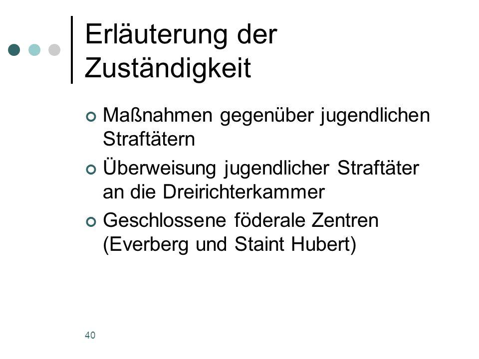 40 Erläuterung der Zuständigkeit Maßnahmen gegenüber jugendlichen Straftätern Überweisung jugendlicher Straftäter an die Dreirichterkammer Geschlossene föderale Zentren (Everberg und Staint Hubert)