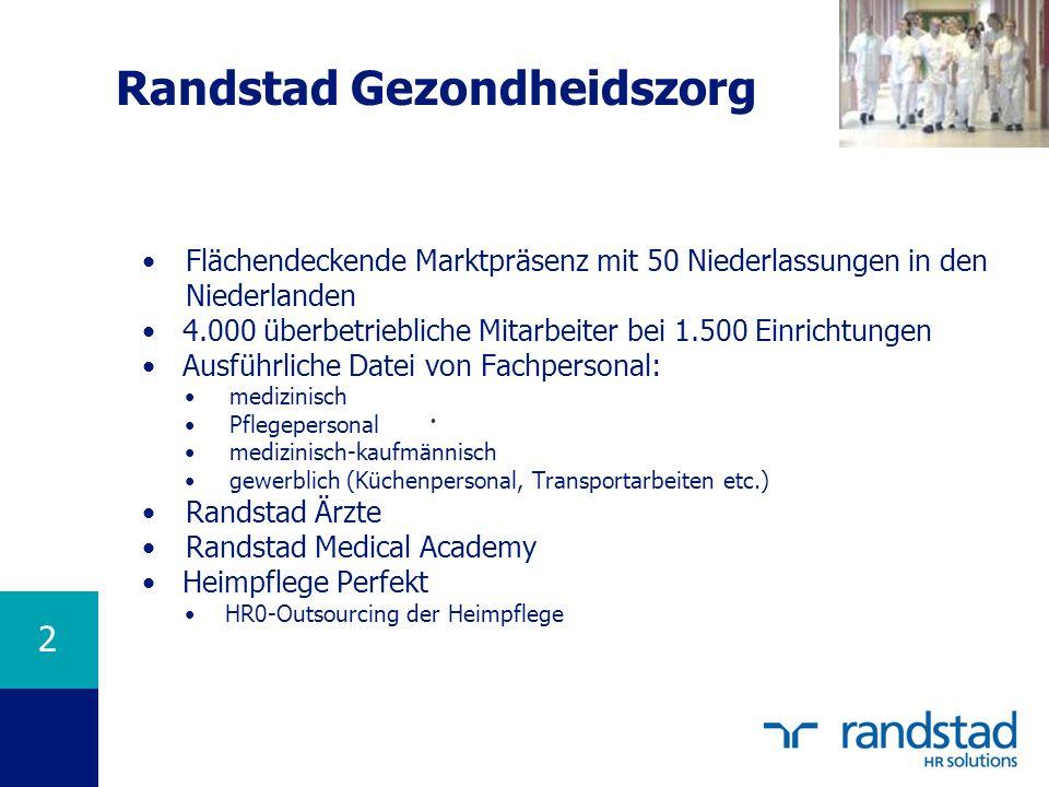 2 Randstad Gezondheidszorg Flächendeckende Marktpräsenz mit 50 Niederlassungen in den Niederlanden 4.000 überbetriebliche Mitarbeiter bei 1.500 Einric