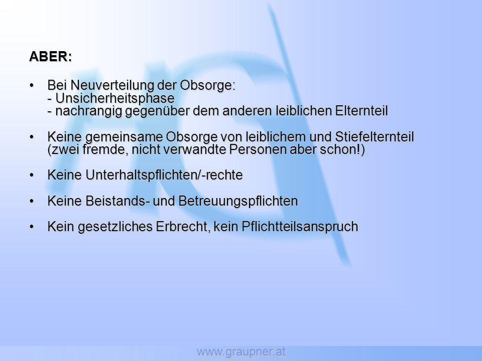 www.graupner.at ABER: Bei Neuverteilung der Obsorge:Bei Neuverteilung der Obsorge: - Unsicherheitsphase - nachrangig gegenüber dem anderen leiblichen