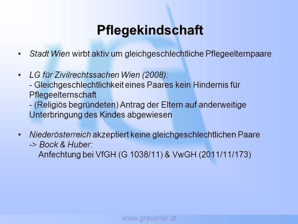 www.graupner.at Pflegekindschaft Stadt Wien wirbt aktiv um gleichgeschlechtliche Pflegeelternpaare LG für Zivilrechtssachen Wien (2008): - Gleichgesch