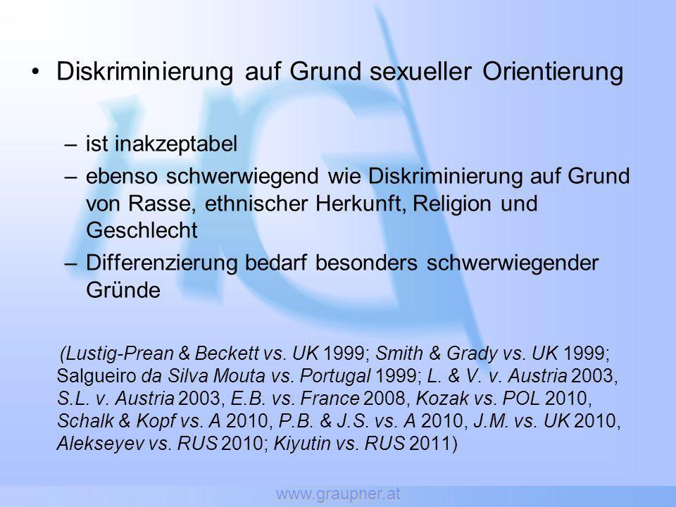 www.graupner.at Medizinisch unterstützte Fortpflanzung Alleinstehenden Frauen und Frauen in lesbischer Partnerschaft -> verboten (bis EUR 36.000,-- Geldstrafe oder 14 Tage Arrest für die Frau und die Ärzte) Fortpflanzungsverbot für lesbische Frauen -> Bauer & Bauer: Antrag auf Aufhebung (2010) -> VfGH G 14/10 -> Oberster Gerichtshof: Antrag auf Aufhebung (2011) -> VfGH G 47/11 - LG Wels: Lesben sollen ins Ausland fahren - Bundesregierung: Aufhebung würde schwule Paare diskriminieren (wg.
