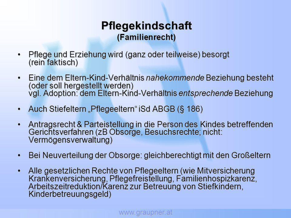 www.graupner.at Pflegekindschaft(Familienrecht) Pflege und Erziehung wird (ganz oder teilweise) besorgtPflege und Erziehung wird (ganz oder teilweise)