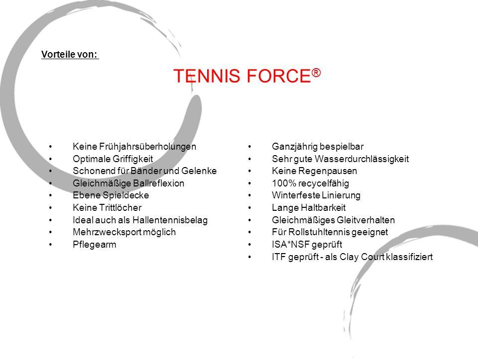TENNIS FORCE ® Keine Frühjahrsüberholungen Optimale Griffigkeit Schonend für Bänder und Gelenke Gleichmäßige Ballreflexion Ebene Spieldecke Keine Trit