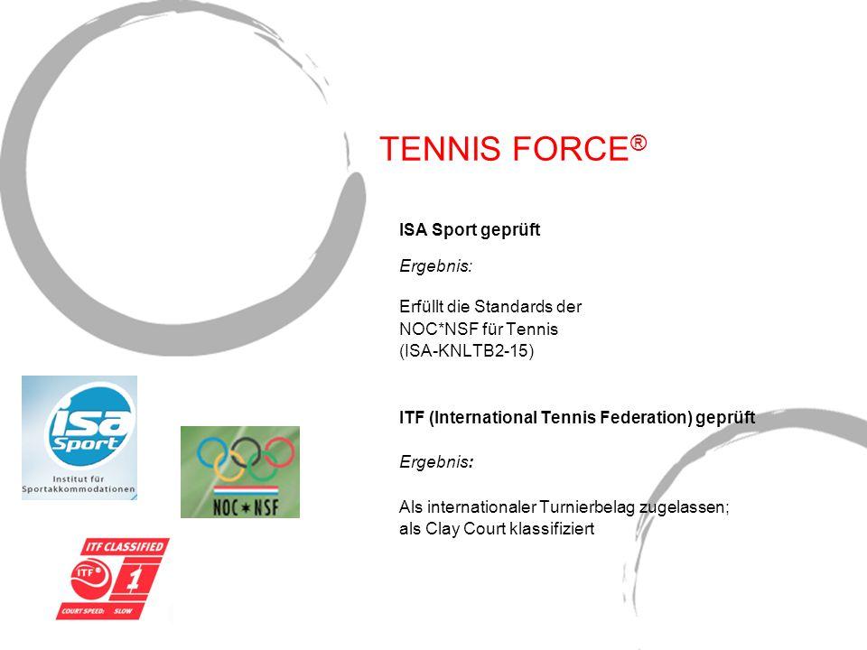 TENNIS FORCE ® ISA Sport geprüft Ergebnis: Erfüllt die Standards der NOC*NSF für Tennis (ISA-KNLTB2-15) ITF (International Tennis Federation) geprüft