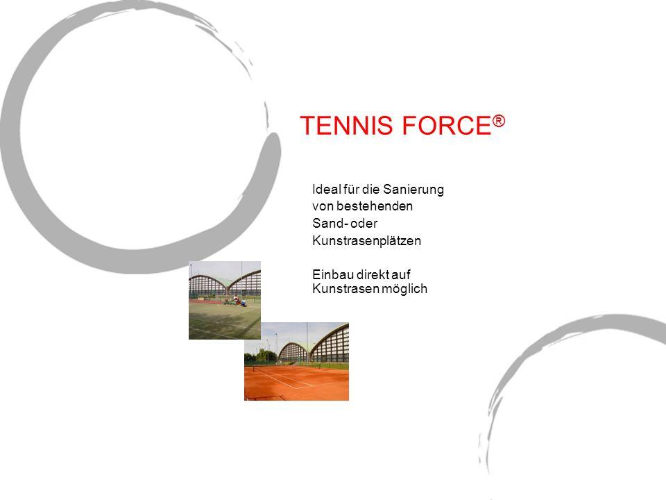 TENNIS FORCE ® Ideal für die Sanierung von bestehenden Sand- oder Kunstrasenplätzen Einbau direkt auf Kunstrasen möglich