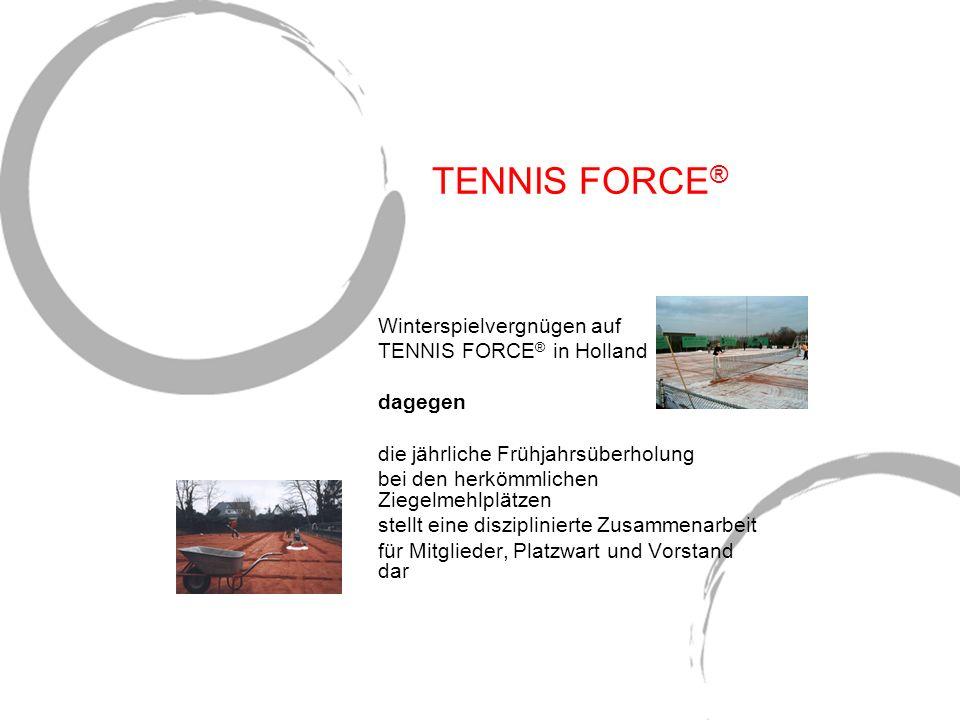 TENNIS FORCE ® Winterspielvergnügen auf TENNIS FORCE ® in Holland dagegen die jährliche Frühjahrsüberholung bei den herkömmlichen Ziegelmehlplätzen st