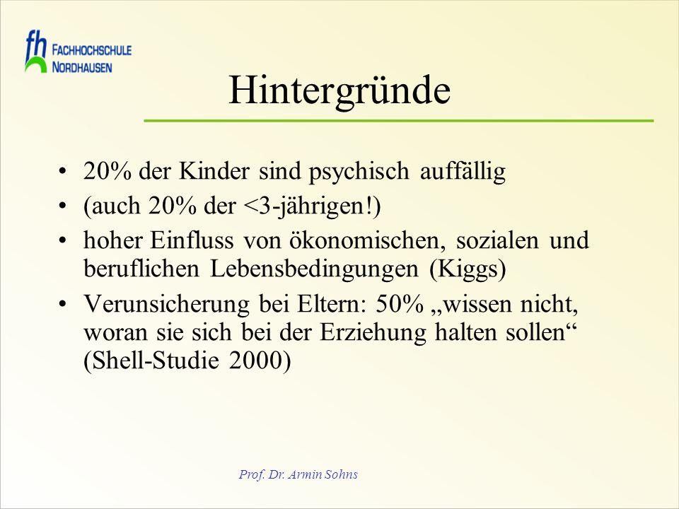 Prof. Dr. Armin Sohns Hintergründe 20% der Kinder sind psychisch auffällig (auch 20% der <3-jährigen!) hoher Einfluss von ökonomischen, sozialen und b