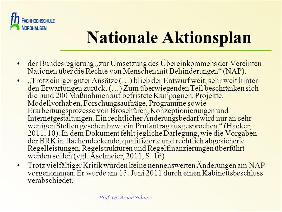 Prof. Dr. Armin Sohns Nationale Aktionsplan der Bundesregierung zur Umsetzung des Übereinkommens der Vereinten Nationen über die Rechte von Menschen m