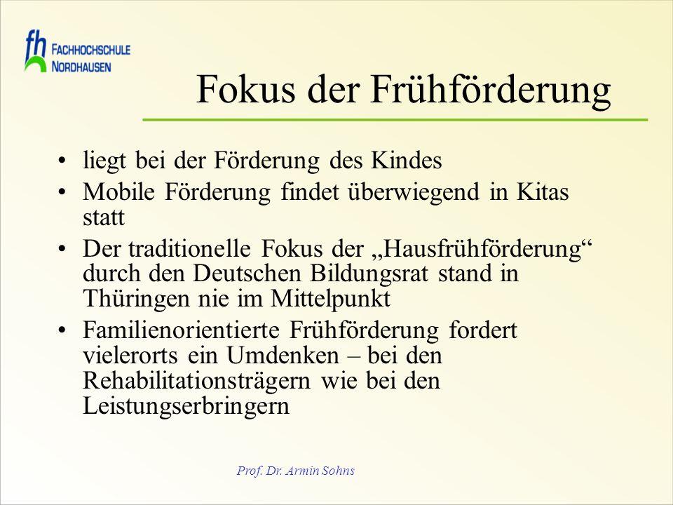 Prof. Dr. Armin Sohns Fokus der Frühförderung liegt bei der Förderung des Kindes Mobile Förderung findet überwiegend in Kitas statt Der traditionelle