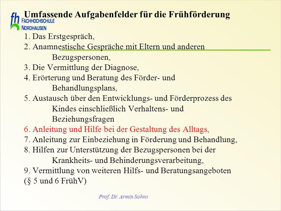 Prof. Dr. Armin Sohns Umfassende Aufgabenfelder für die Frühförderung 1. Das Erstgespräch, 2. Anamnestische Gespräche mit Eltern und anderen Bezugsper
