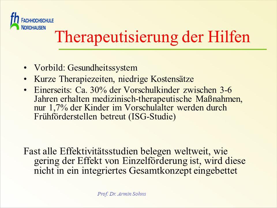 Prof. Dr. Armin Sohns Therapeutisierung der Hilfen Vorbild: Gesundheitssystem Kurze Therapiezeiten, niedrige Kostensätze Einerseits: Ca. 30% der Vorsc