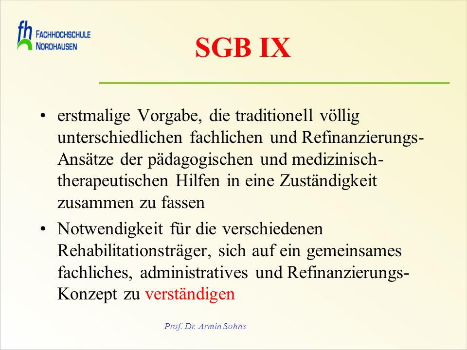 Prof. Dr. Armin Sohns SGB IX erstmalige Vorgabe, die traditionell völlig unterschiedlichen fachlichen und Refinanzierungs- Ansätze der pädagogischen u