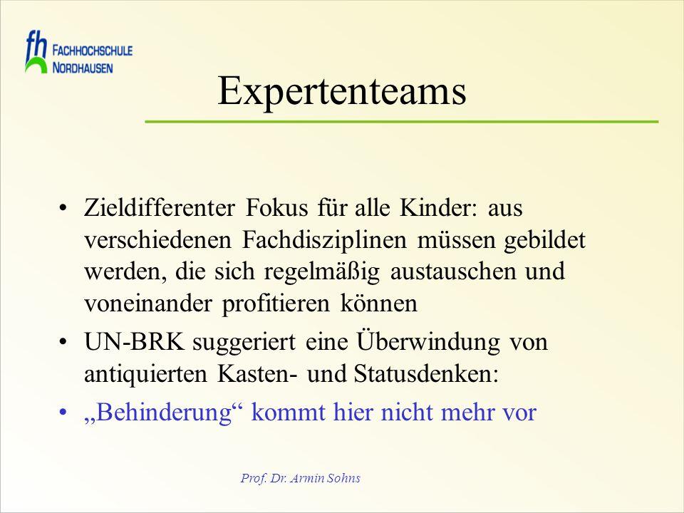 Prof. Dr. Armin Sohns Expertenteams Zieldifferenter Fokus für alle Kinder: aus verschiedenen Fachdisziplinen müssen gebildet werden, die sich regelmäß