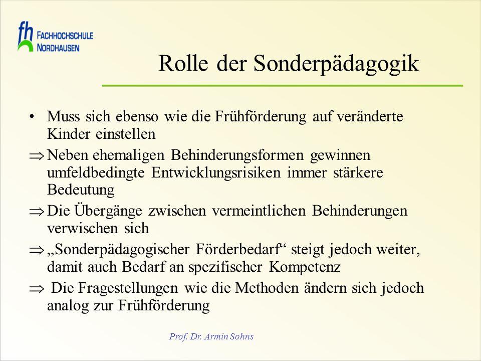 Prof. Dr. Armin Sohns Rolle der Sonderpädagogik Muss sich ebenso wie die Frühförderung auf veränderte Kinder einstellen Neben ehemaligen Behinderungsf