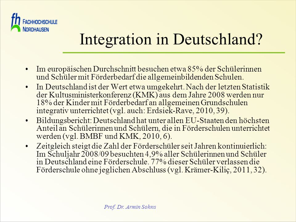 Prof.Dr. Armin Sohns Integration in Deutschland.