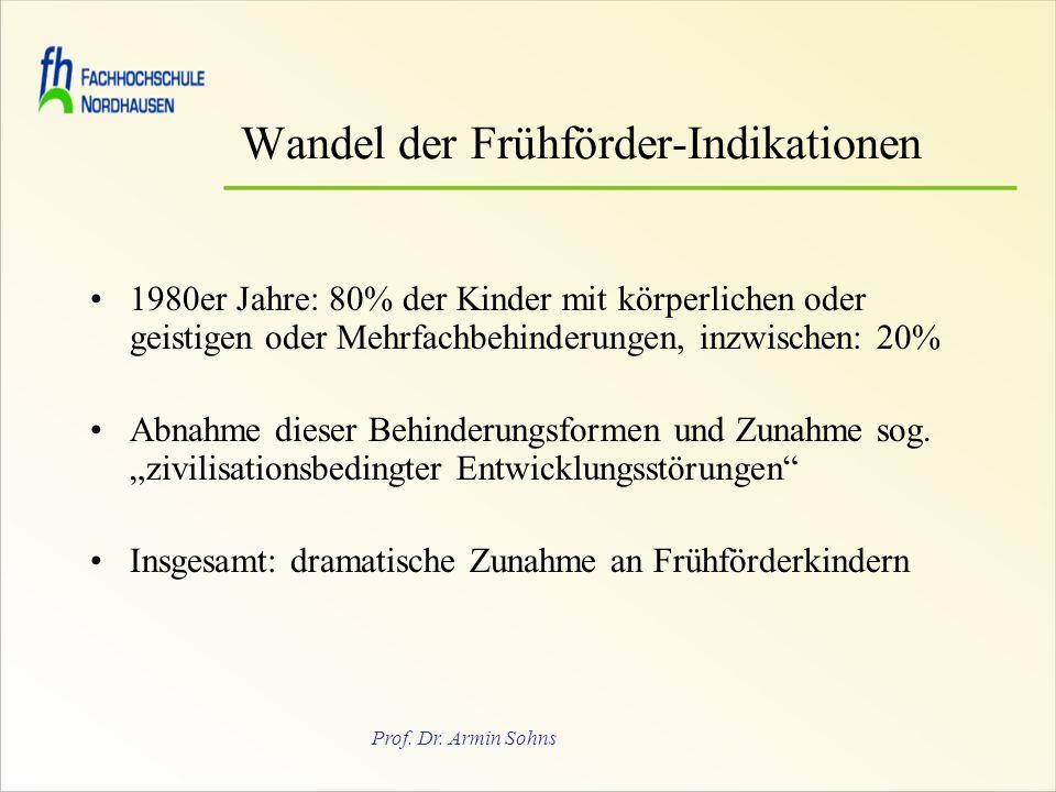 Prof. Dr. Armin Sohns Wandel der Frühförder-Indikationen 1980er Jahre: 80% der Kinder mit körperlichen oder geistigen oder Mehrfachbehinderungen, inzw