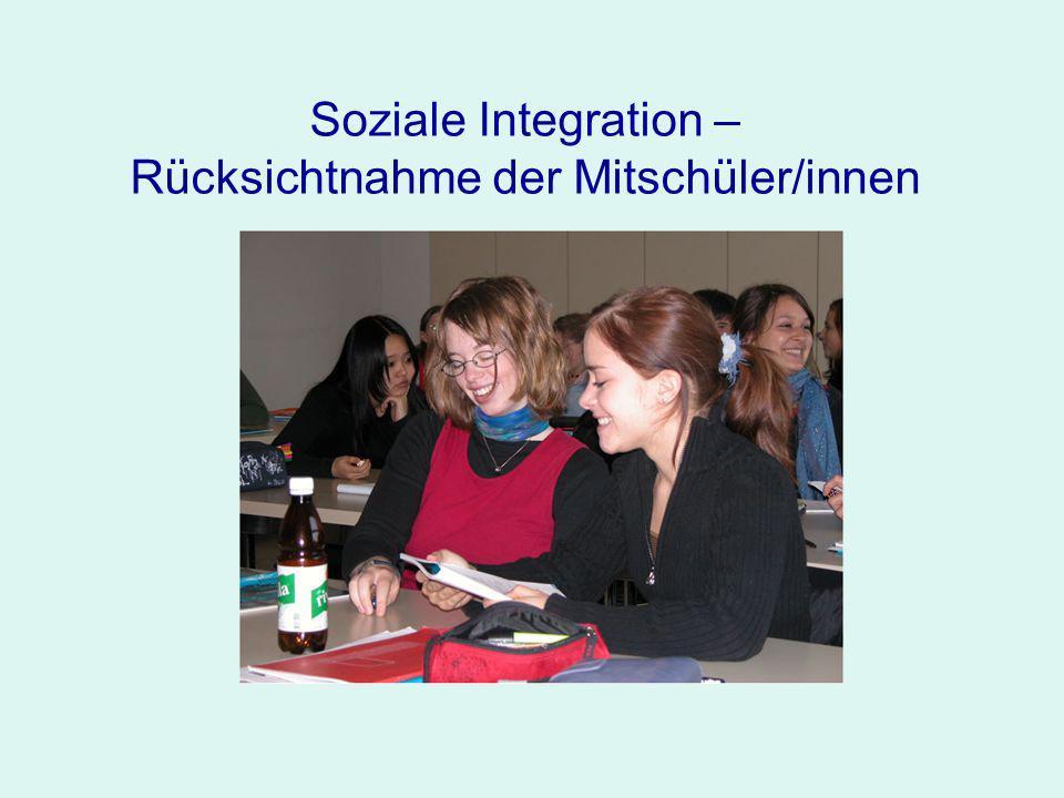Soziale Integration – Rücksichtnahme der Mitschüler/innen