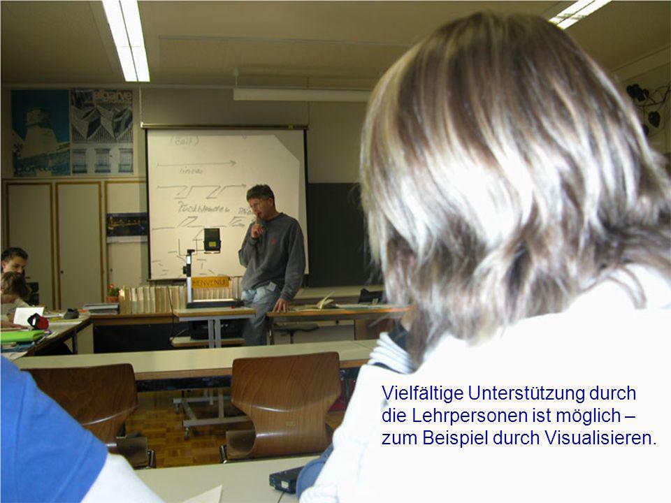 Vielfältige Unterstützung durch die Lehrpersonen ist möglich – zum Beispiel durch Visualisieren.