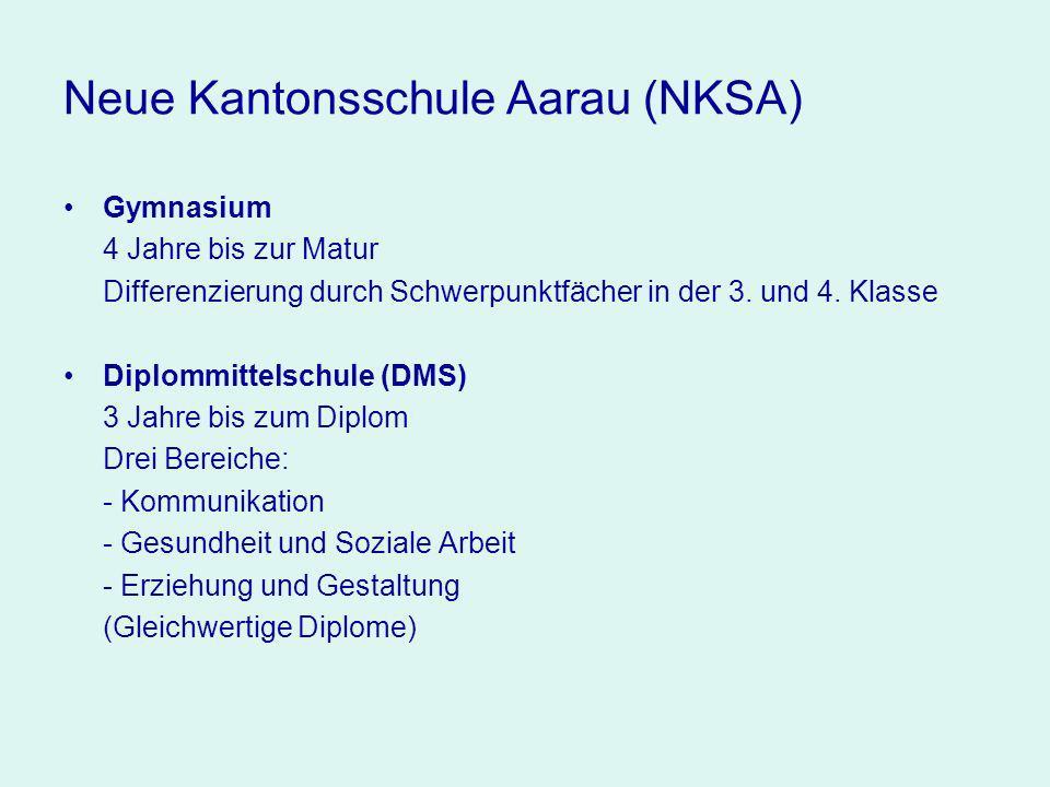 Neue Kantonsschule Aarau (NKSA) Gymnasium 4 Jahre bis zur Matur Differenzierung durch Schwerpunktfächer in der 3.