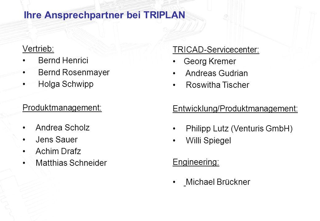 3 Ihre Ansprechpartner bei TRIPLAN Vertrieb: Bernd Henrici Bernd Rosenmayer Holga Schwipp Produktmanagement: Andrea Scholz Jens Sauer Achim Drafz Matt