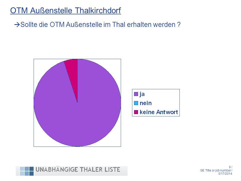 9 / GE Title or job number / 5/17/2014 OTM Außenstelle Thalkirchdorf Sollte die OTM Außenstelle im Thal erhalten werden