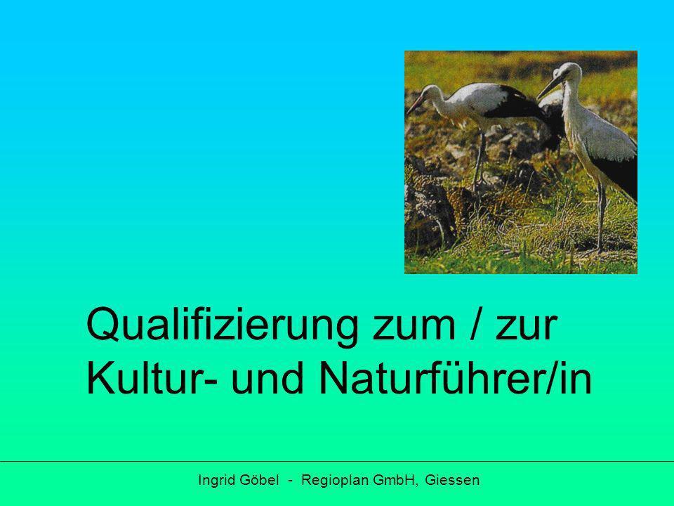 Gliederung Ingrid Göbel - Regioplan GmbH, Giessen Bedarf Zielgruppe für die Qualifizierung Anbindung der Führer/innen und Nachhaltigkeit