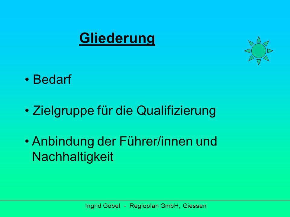 Bedarf Ingrid Göbel - Regioplan GmbH, Giessen Erlebnisreiches Angebot an Führungen Zielgruppe: alle Tages- und Mehrtagestouristen z.B.