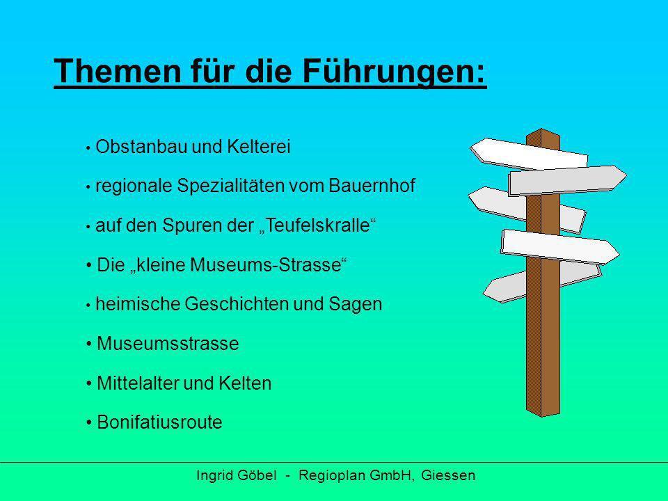 Zielgruppe für die Qualifizierung Ingrid Göbel - Regioplan GmbH, Giessen Interessierte Bürger/innen bereits aktive Stadt- und Landschaftsführer/innen Verwaltungsmitarbeiter/innen aus den Kommunen