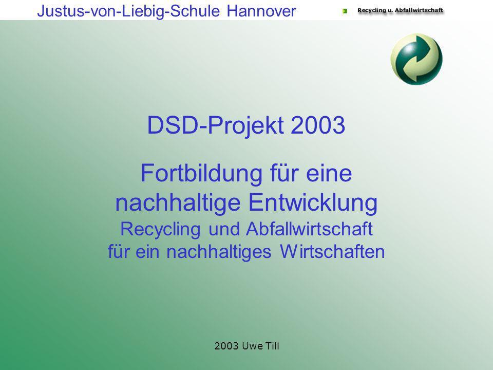 Justus-von-Liebig-Schule Hannover 2003 Uwe Till Fortbildung für eine nachhaltige Entwicklung Recycling und Abfallwirtschaft für ein nachhaltiges Wirts
