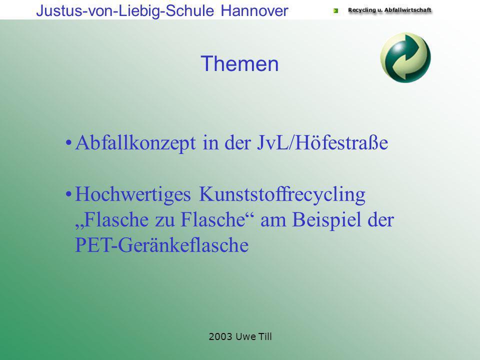 Justus-von-Liebig-Schule Hannover 2003 Uwe Till Themen Abfallkonzept in der JvL/Höfestraße Hochwertiges Kunststoffrecycling Flasche zu Flasche am Beis