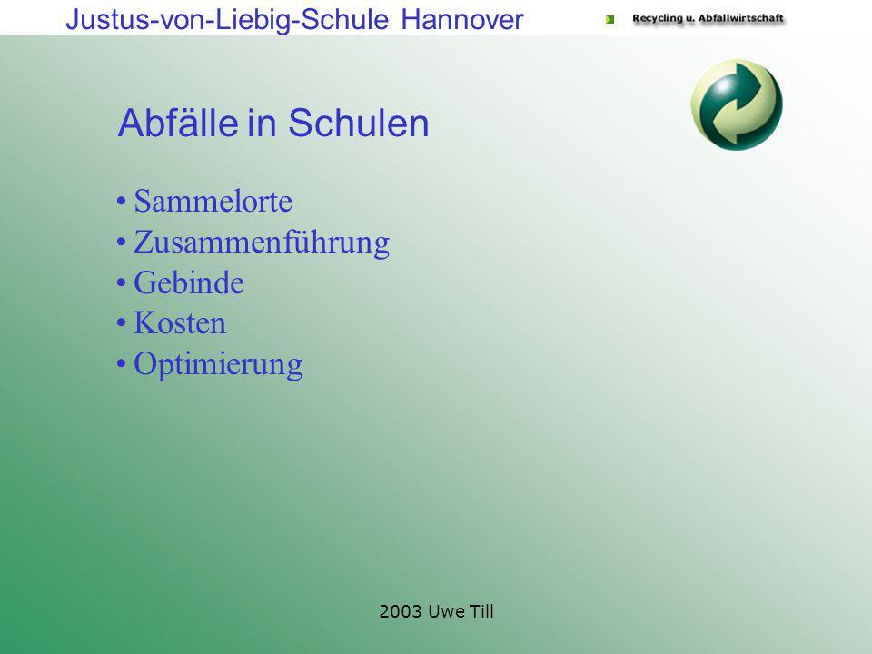 Justus-von-Liebig-Schule Hannover 2003 Uwe Till Abfälle in Schulen Sammelorte Zusammenführung Gebinde Kosten Optimierung