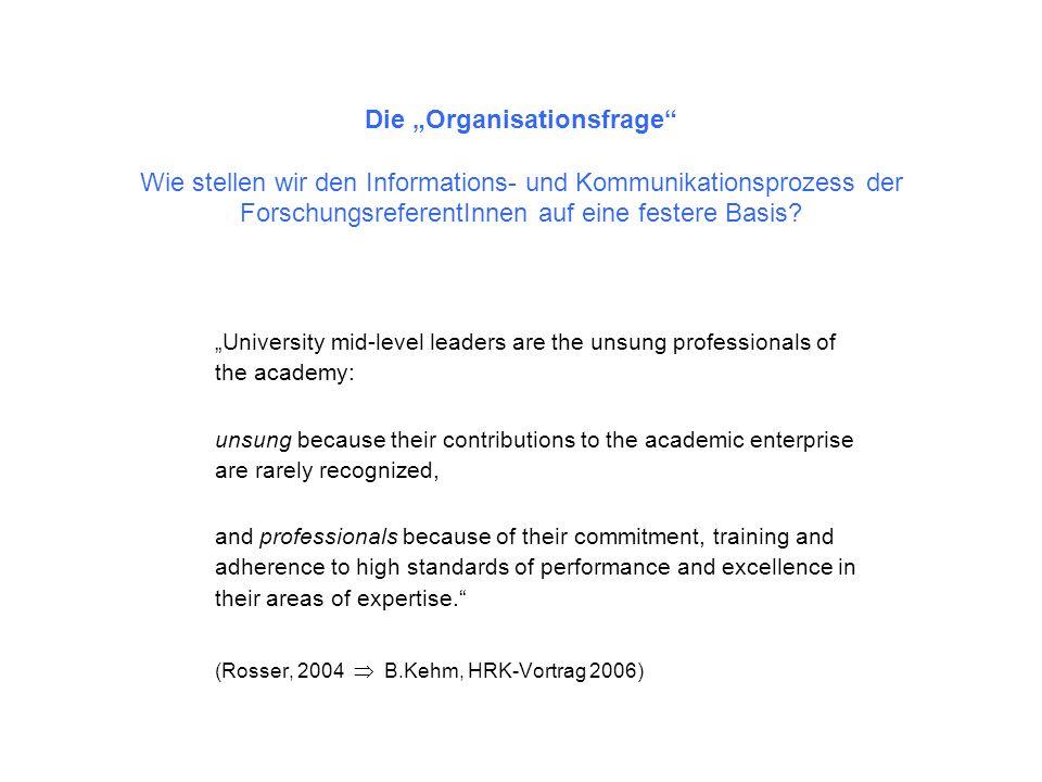 Die Organisationsfrage Wie stellen wir den Informations- und Kommunikationsprozess der ForschungsreferentInnen auf eine festere Basis? University mid-