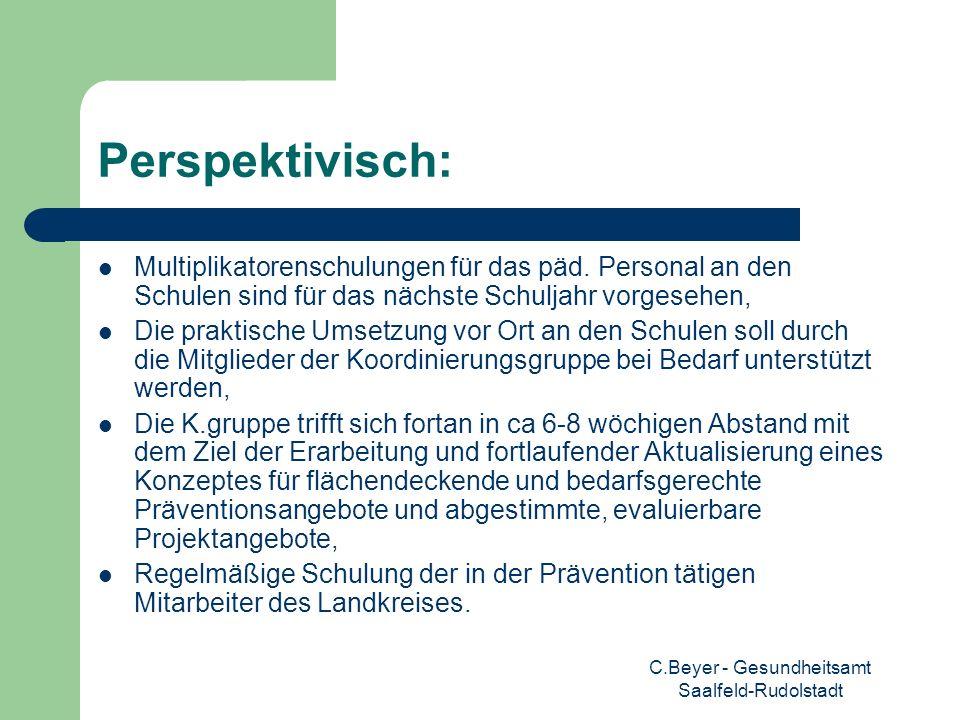 C.Beyer - Gesundheitsamt Saalfeld-Rudolstadt Perspektivisch: Multiplikatorenschulungen für das päd. Personal an den Schulen sind für das nächste Schul