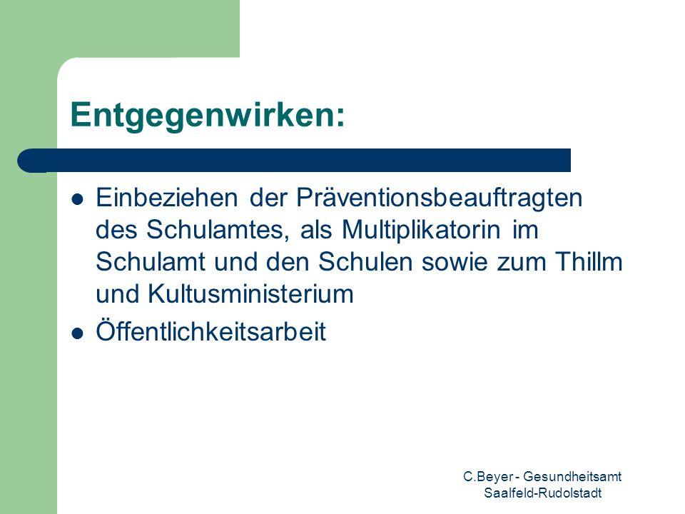 C.Beyer - Gesundheitsamt Saalfeld-Rudolstadt Entgegenwirken: Einbeziehen der Präventionsbeauftragten des Schulamtes, als Multiplikatorin im Schulamt u