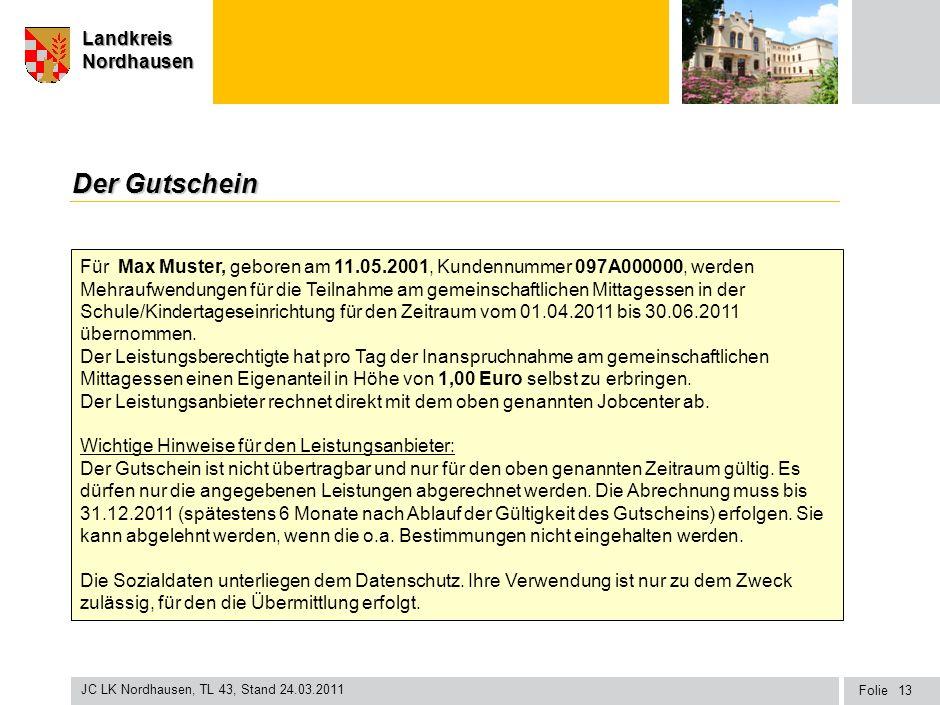 Seite Landkreis Nordhausen Folie JC LK Nordhausen, TL 43, Stand 24.03.2011 LandkreisNordhausen Der Gutschein 13 Für Max Muster, geboren am 11.05.2001,
