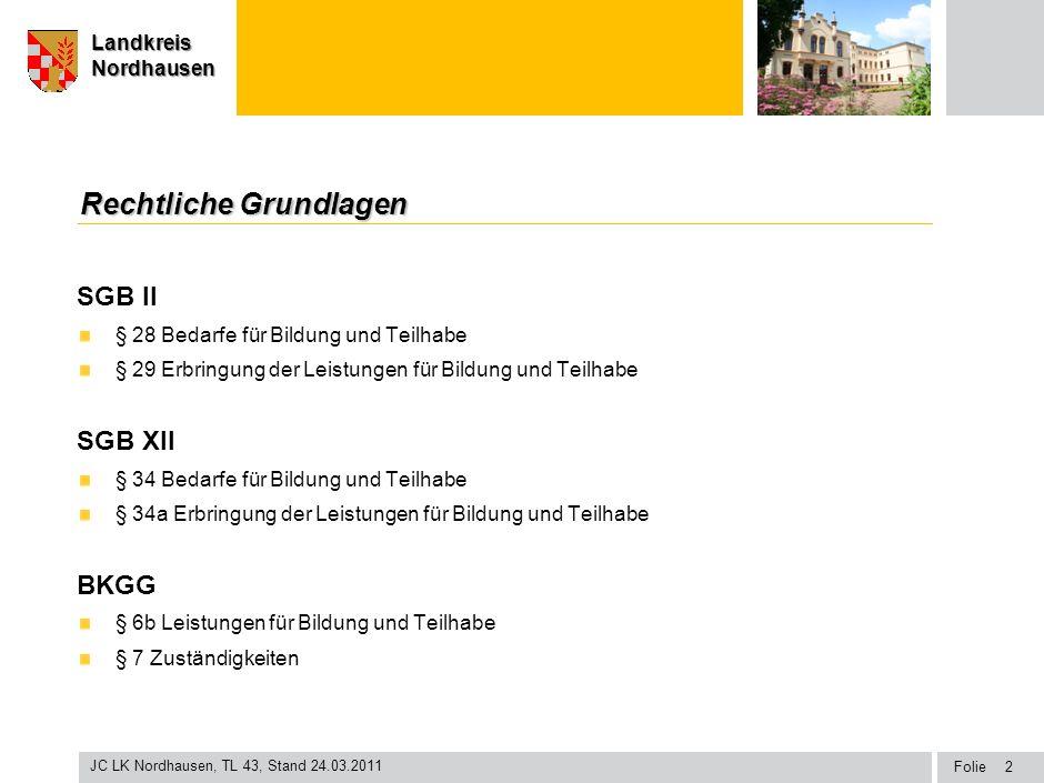 Seite Landkreis Nordhausen Folie JC LK Nordhausen, TL 43, Stand 24.03.2011 LandkreisNordhausen Rechtliche Grundlagen SGB II § 28 Bedarfe für Bildung u