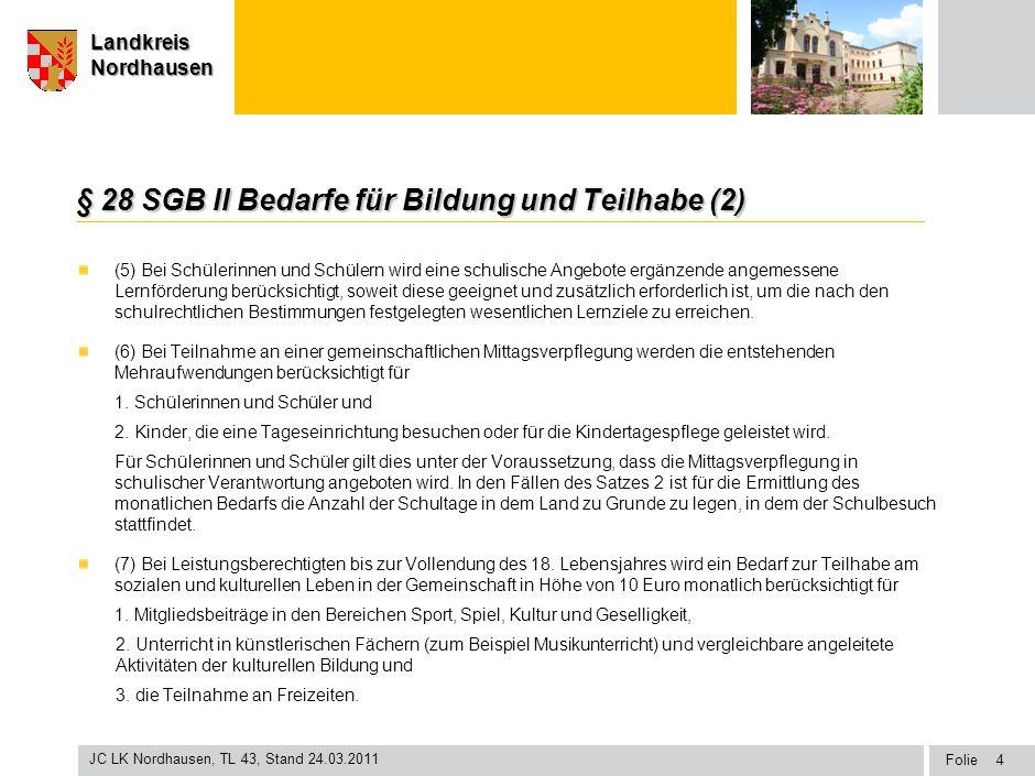 Seite Landkreis Nordhausen Folie JC LK Nordhausen, TL 43, Stand 24.03.2011 LandkreisNordhausen § 28 SGB II Bedarfe für Bildung und Teilhabe (2) (5) Be