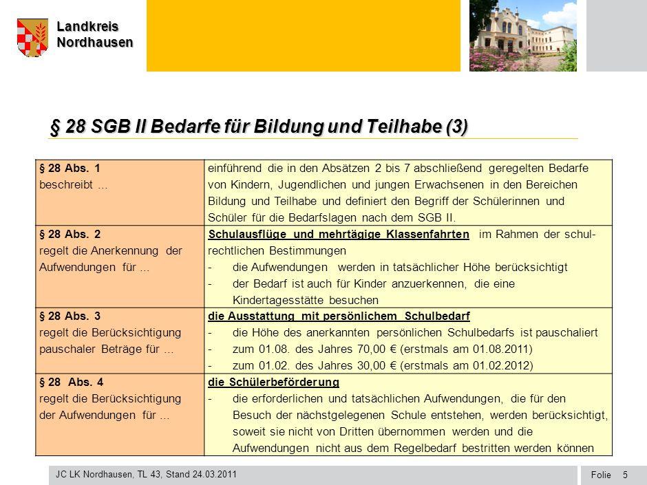 Seite Landkreis Nordhausen Folie JC LK Nordhausen, TL 43, Stand 24.03.2011 LandkreisNordhausen § 28 SGB II Bedarfe für Bildung und Teilhabe (3) § 28 A