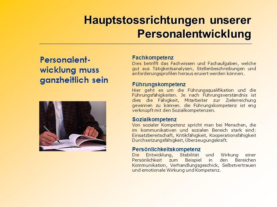 Hauptstossrichtungen unserer Personalentwicklung Personalent- wicklung muss ganzheitlich sein Fachkompetenz Dies betrifft das Fachwissen und Fachaufga