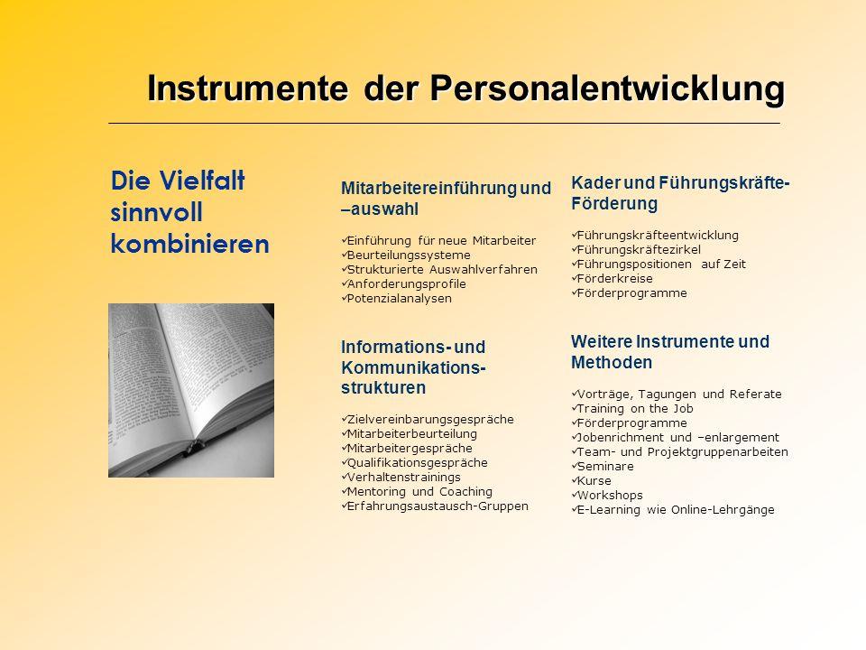 Instrumente der Personalentwicklung Die Vielfalt sinnvoll kombinieren Mitarbeitereinführung und –auswahl Einführung für neue Mitarbeiter Beurteilungss