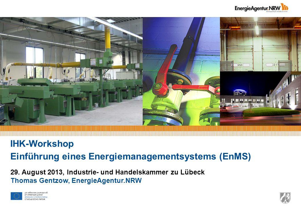 IHK-Workshop Einführung eines Energiemanagementsystems (EnMS) 29. August 2013, Industrie- und Handelskammer zu Lübeck Thomas Gentzow, EnergieAgentur.N