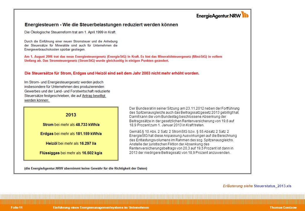 Einführung eines Energiemanagementsystems im Unternehmen Thomas Gentzow Folie 11 Erläuterung siehe Steuerstatus_2013.xls Der Bundesrat in seiner Sitzu